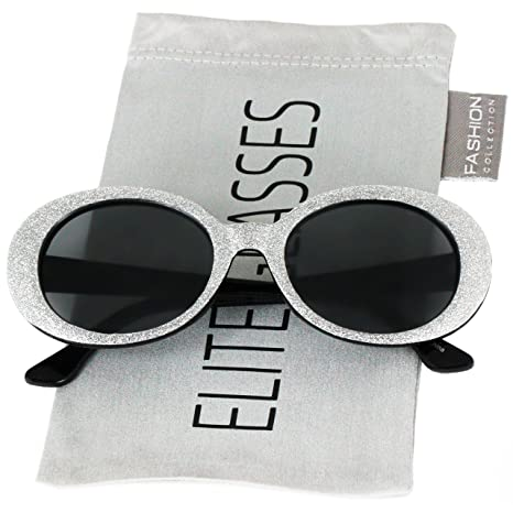 2e445a1ec51 Amazon.com  Clout Goggles Oval Mod Retro Thick Frame Rapper Hypebeast  Eyewear Supreme Glasses Cool Sunglasses (Black Glitter
