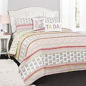 Lush Decor 5 Piece Fox Ruffle Stripe Quilt Set, Full/Queen, Pink/Gray