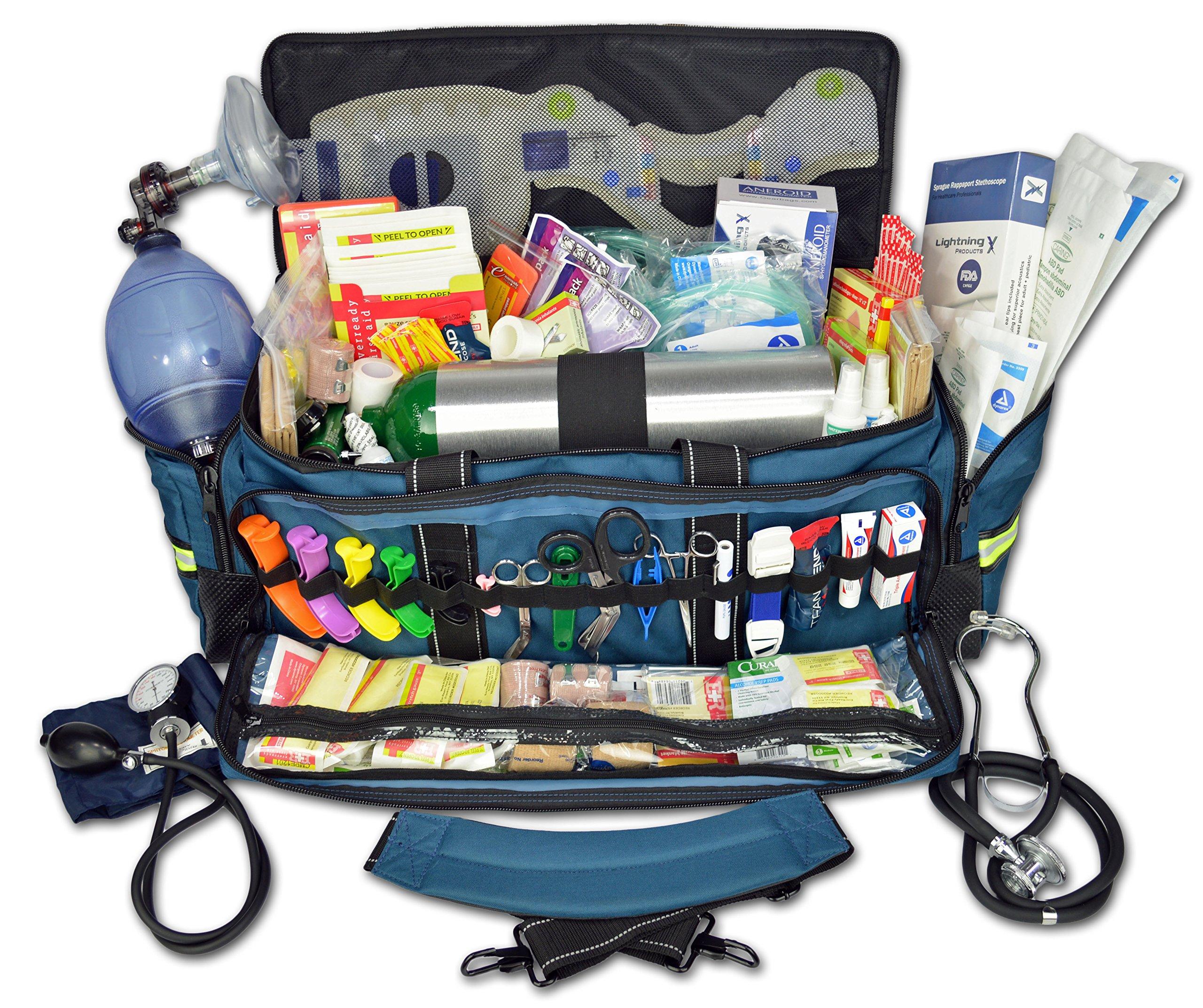 Lightning X Jumbo Oxygen Medic First Responder EMT/EMS Bag Stocked Trauma Kit LXMB50-SKD (Blue) by Lightning X Products