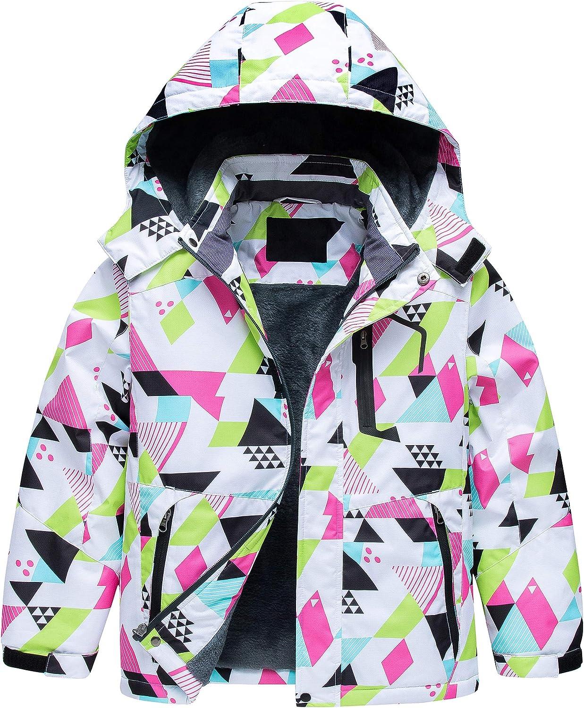 Boy's Waterproof Ski Jacket Warm Winter Fleece Snow Coat Windproof Snowboarding Rain Jacket: Clothing