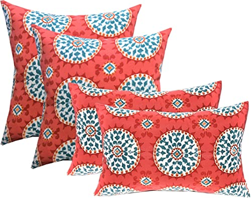 RSH DECOR Indoor Outdoor Set of 4 2-17 x17 Square and 20 x12 Lumbar Toss Throw Pillows Weather Resistant – Red, Coral, Turquoise – Watermelon Sundial
