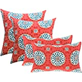 "RSH DECOR Indoor Outdoor Set of 4 (2-17""x17"" Square and 20""x12"") Lumbar Toss Throw Pillows Weather Resistant - Red…"