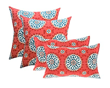 Set Of 4 Indoor / Outdoor Pillows   17u0026quot; Square Throw Pillows U0026  Rectangle /