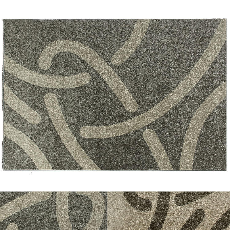 Design Teppich Curves   moderner Wohnzimmerteppich mit Trend Strich Muster   in 2 Größen und vielen Farben für Wohnzimmer, Esszimmer, Schlafzimmer etc.   grau   creme 160x220 cm