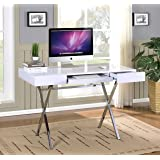 Amazon studio 55d world map glass and chrome computer office kings brand furniture contemporary style home office desk whitechrome gumiabroncs Image collections