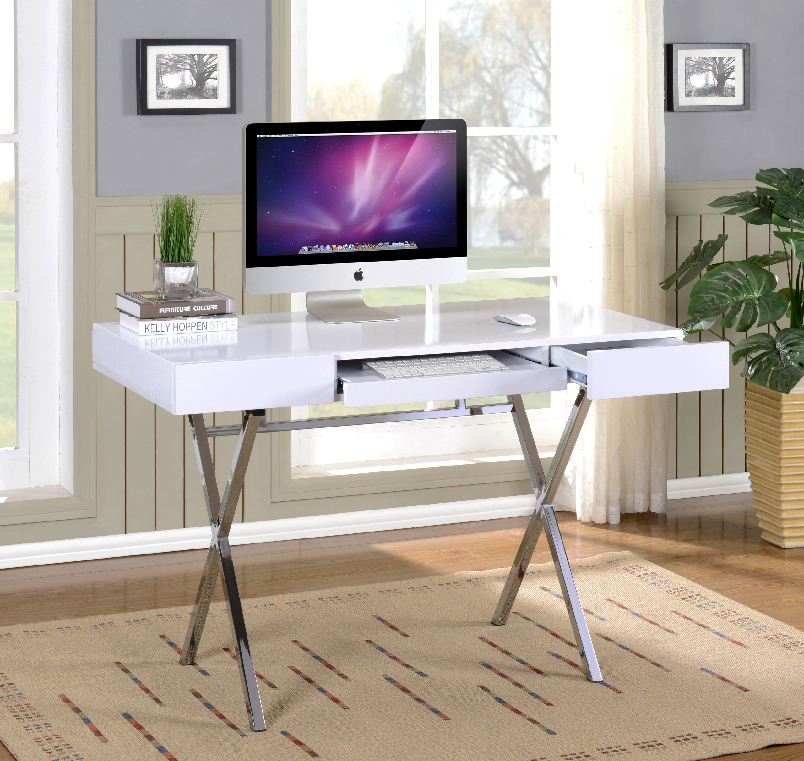 Kings Brand Furniture Contemporary Style Home & Office Desk, White/Chrome - Kings Brand Contemporary Style White With Chrome Finish Legs Home & Office Desk The computer desk in an X design creates a modern looking unit that is ready to help you tackle your daily tasks Computer desk in a white glossy finish with a pullout keyboard tray - writing-desks, living-room-furniture, living-room - 91qKBC0Z1NL -