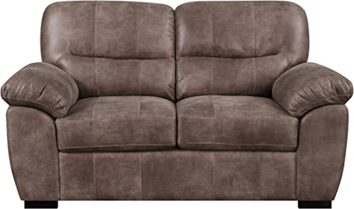 Loveseat With Faux Leather, Pillow Top Back, And Padded Arms
