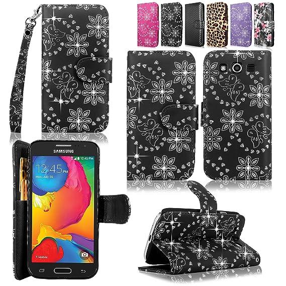big sale 52acf 88c92 Samsung Galaxy Avant Case-Cellularvilla Pu Leather Wallet Card Flip Open  Pocket Case Cover Pouch For Samsung Galaxy Avant G386 (T-Mobile) (Black ...