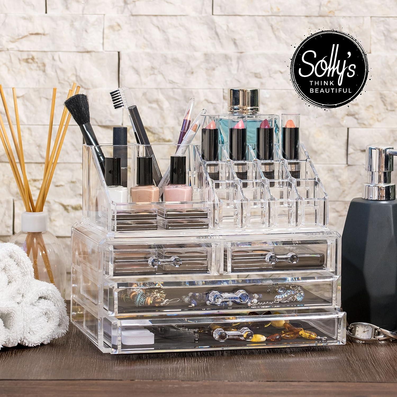 Sollys Anna - Neceser de maquillaje transparente - Organizador cosmético para accesorios de belleza: Amazon.es: Hogar