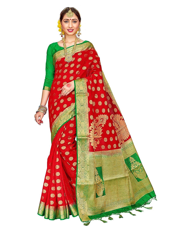 ELINA FASHION Sarees for Women Banarasi Art Silk Woven Work Saree l Indian Wedding Traditional Wear Sari and Blouse Piece 1058