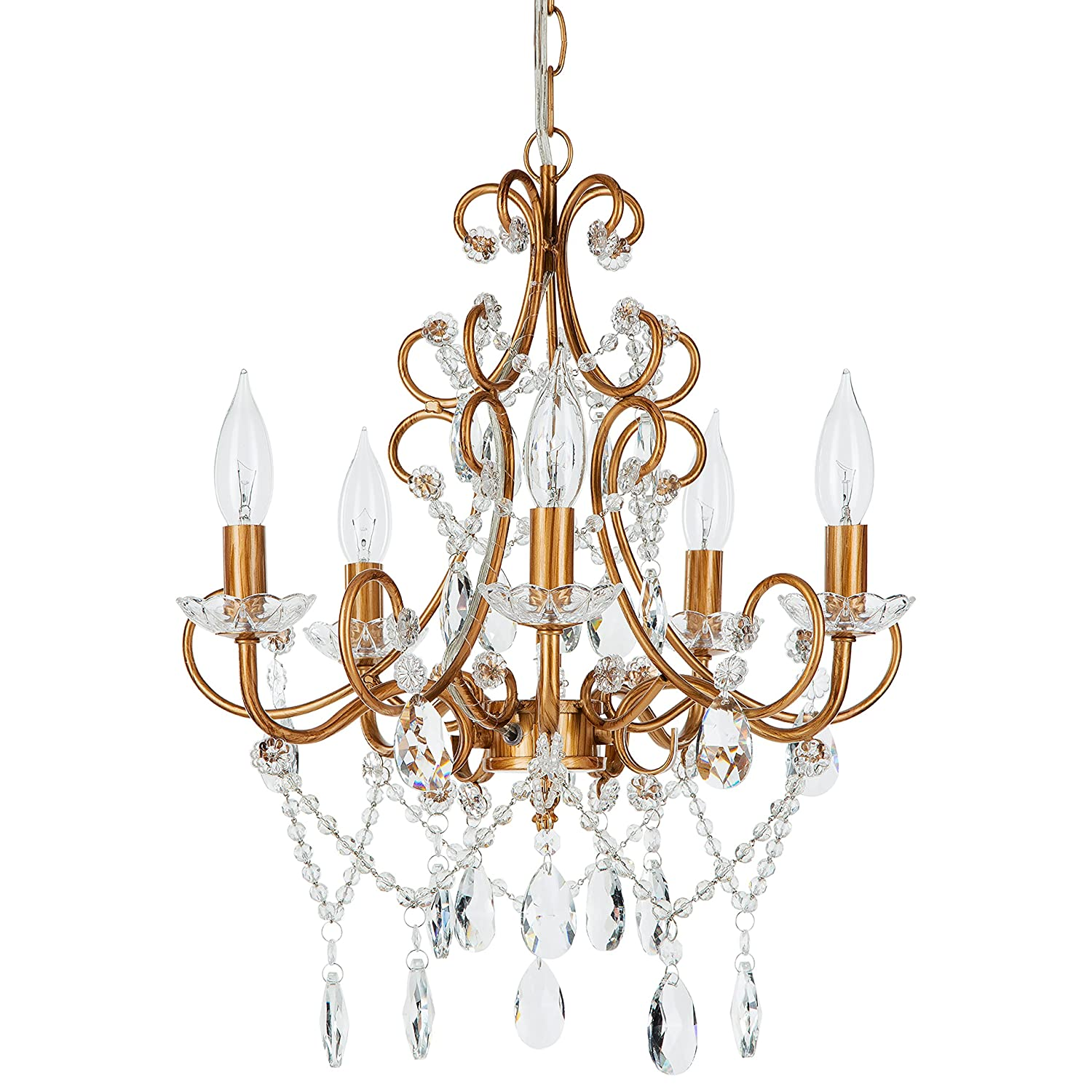 Theresa Vintage Gold Crystal Chandelier, 5 Light Swag Plug-In Glass Pendant Wrought Iron Ceiling Lighting Fixture Lamp
