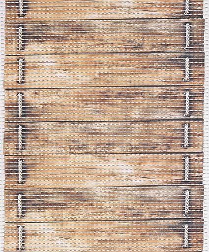 Badematte Badvorleger Badteppich Holz Diele Braun Breite 65cm Antirutsch