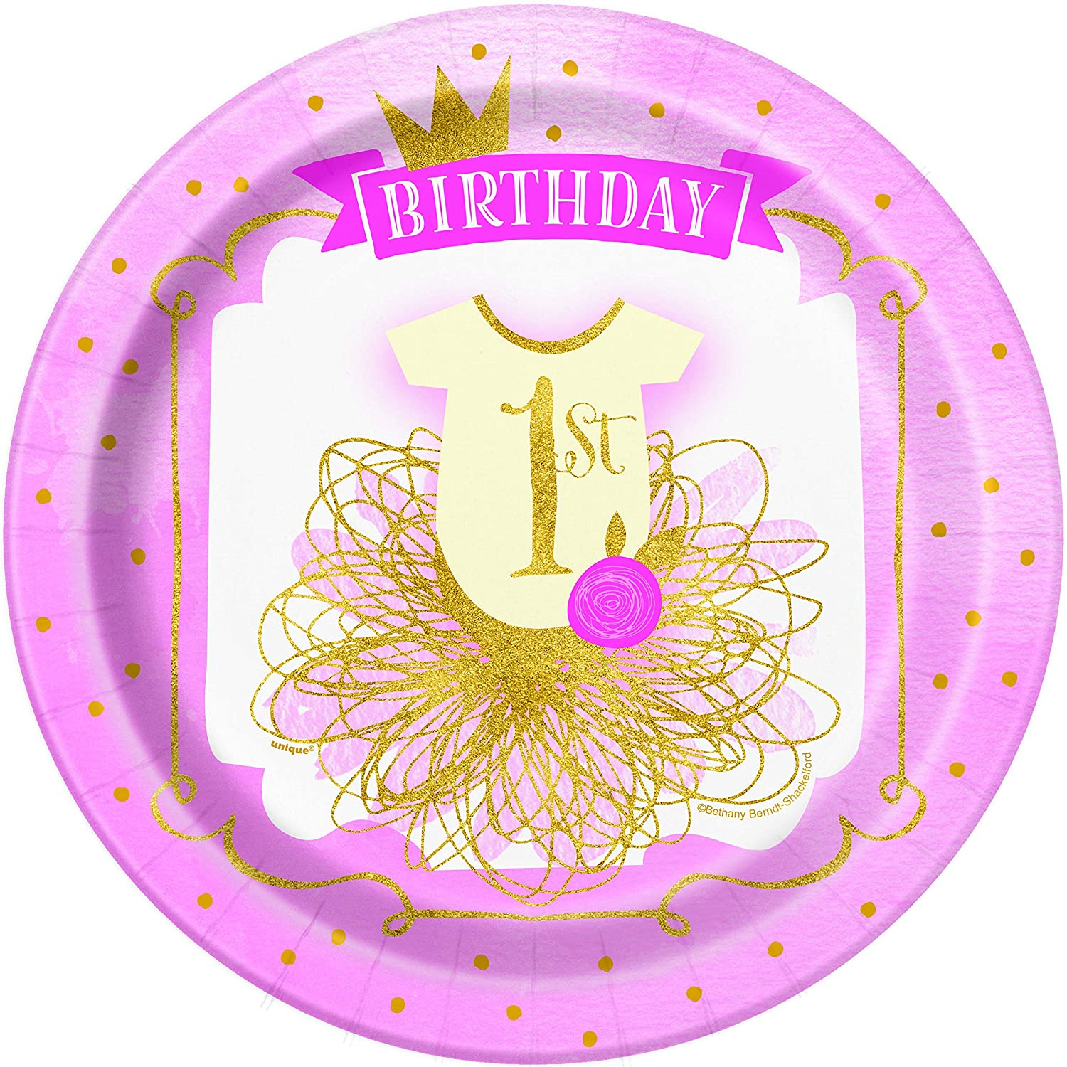 Napkins Pink and Gold Girls 1st Birthday Paper Dinner Plates Dessert Cake Plates and Cups Serves 16 Guests Pink and Gold Girls First Birthday Tableware Party Supplies Pack| Premium and Super Cute