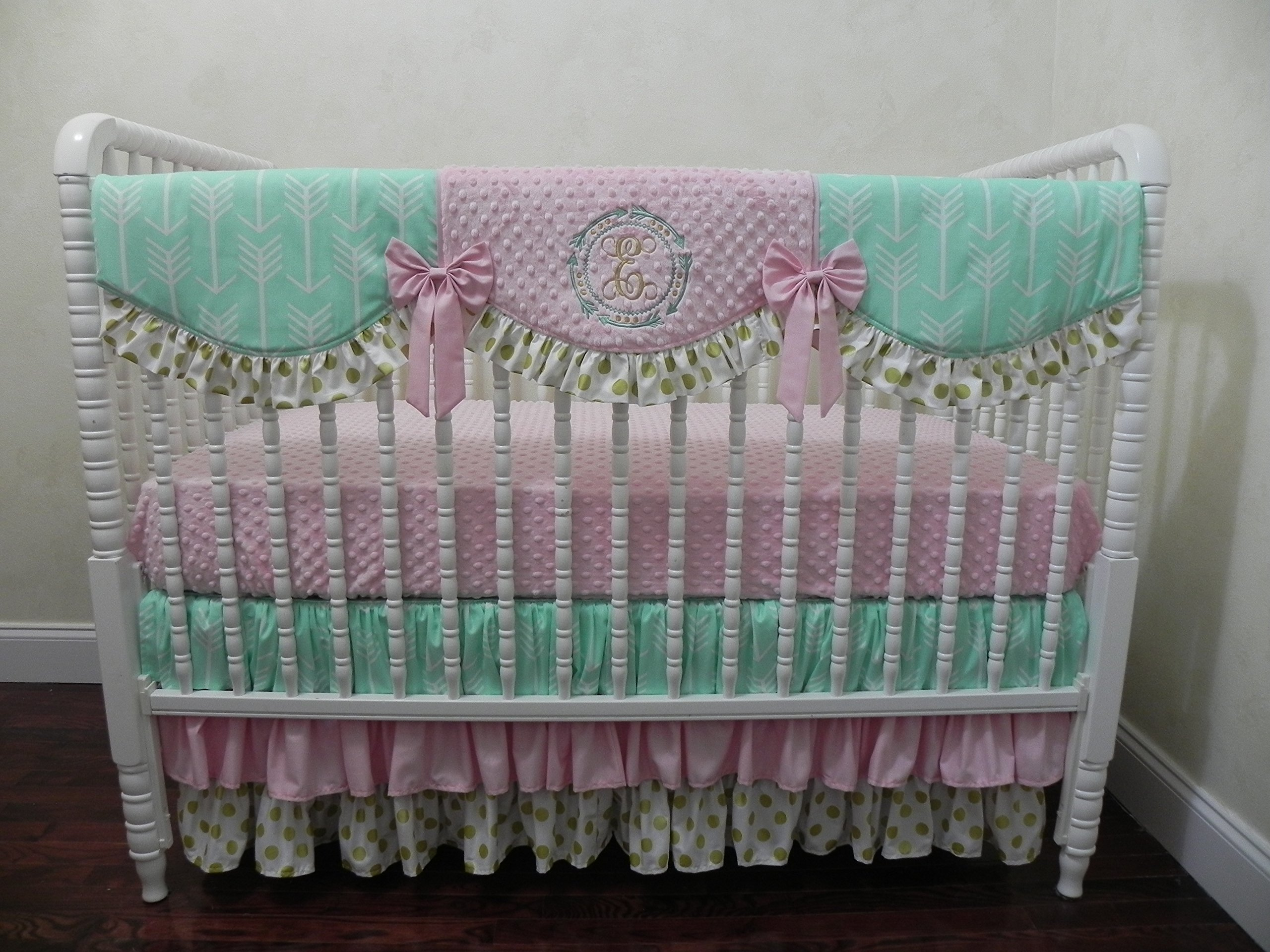 Nursery Bedding, Baby Girl Crib Bedding Set Lucca, Crib Bedding with Mint Arrows, Gold Dots, and Light Pink, Scalloped Crib Rail Cover, Three Tiered Crib Skirt , 1 - 4 pieces