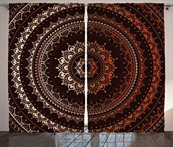 Mandala Decor Curtains By Ambesonne Ancient Enclosing Magic Circle Middle Eastern Egyptian Folk Culture Pattern