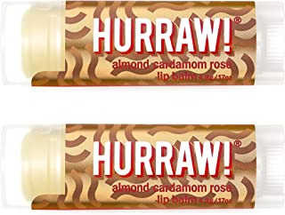 product image for Hurraw! Vata (Almond, Cardamom, Rose) Lip Balm, 2 Pack: Organic, Certified Vegan, Cruelty and Gluten Free. Non-GMO, 100% Natural Ingredients. Bee, Shea, Soy and Palm Free. Made in USA