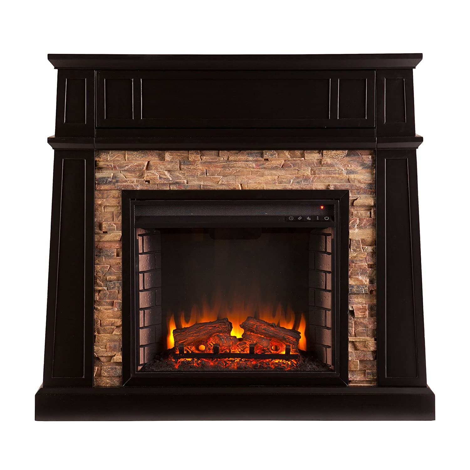 Media Electric Fireplace – Remote Control Space Heater – Faux Stone Front