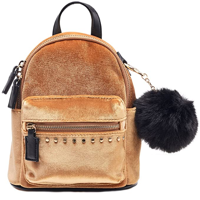 8c4e4512a395 Amazon.com: Dream Control Ultra Soft Velvet w Pom Pom Mini Backpack  Shoulder Handbag Mustard: Clothing
