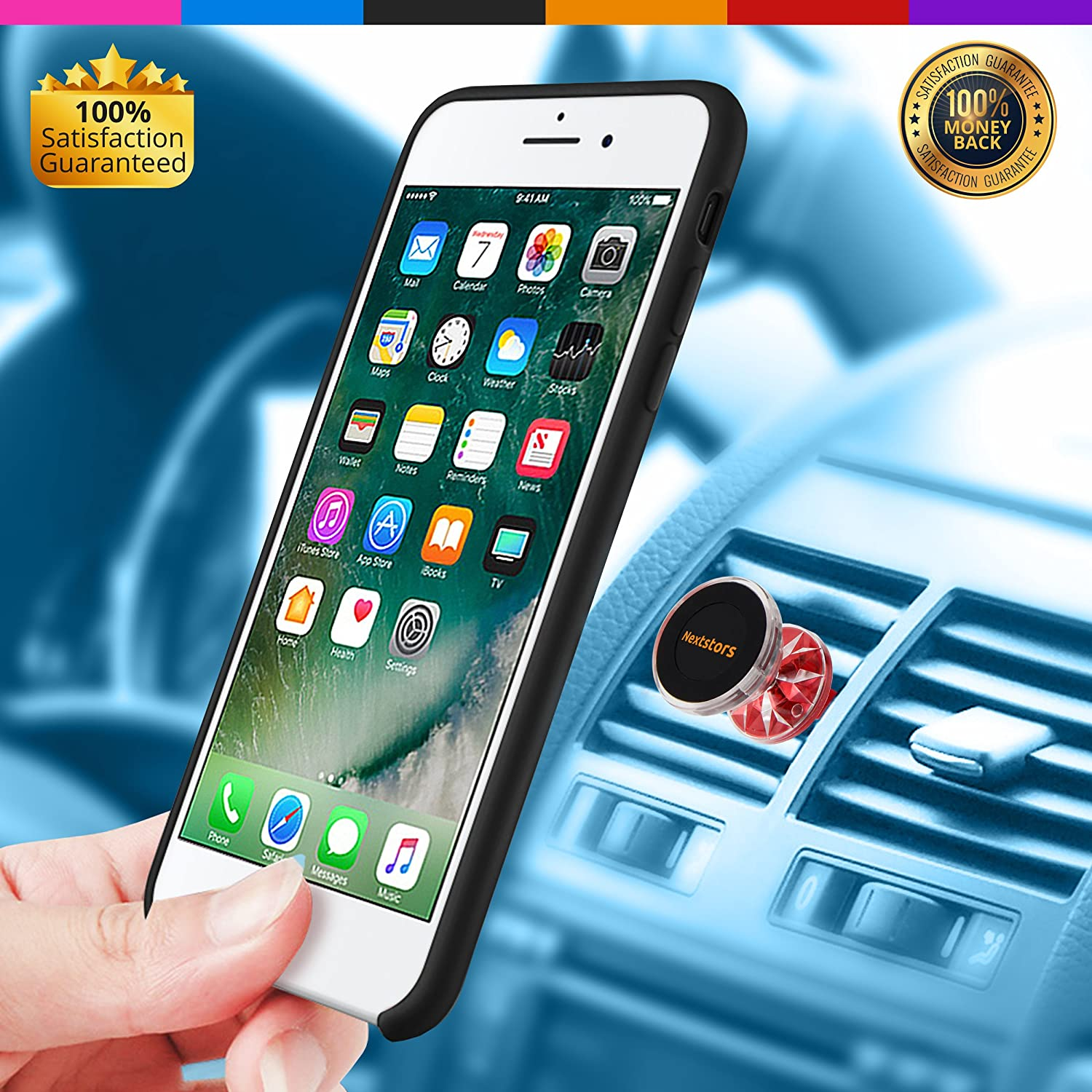 Adjustable 360 Degree Rotation for Air Vent Universal Car Mount Accessories Compatible for All Smartphones Cell Phone Devices 2019 Gift Blue Nextstors Car Phone Holder /& Truck Bracket Magnetic GPS Holder
