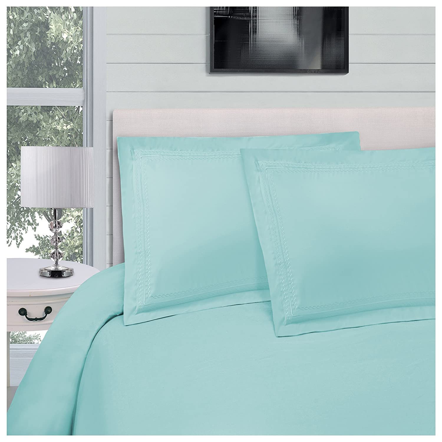 (King/California King, Aqua Marine) Superior Infinity Embroidered Luxury Soft, Cooling 100% Brushed Microfiber Duvet Cover Set with 2 Pillow Shams, Light Weight and Wrinkle Resistant King/California King Duvet Cover, Aqua Marine B071L84HMH King/California King アクアマリン アクアマリン King/California King