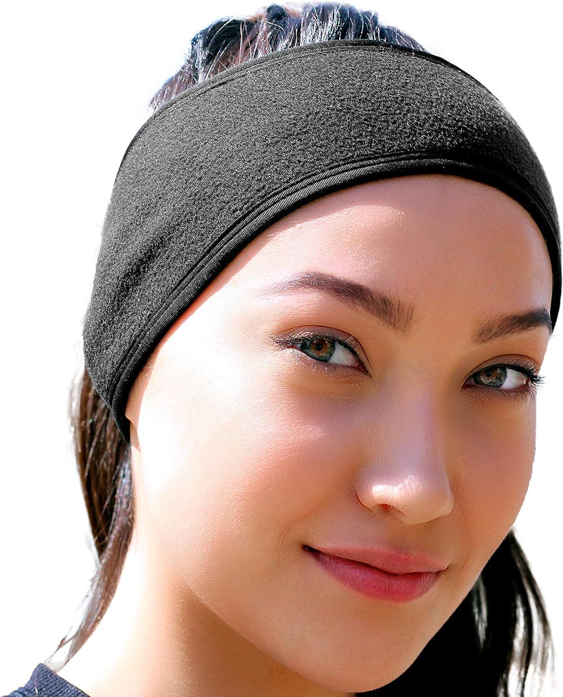 Ear Warmer Headband for Women & Men: Best Cold Weather Fleece Headbands. UNIVERSAL FIT Black Ear Muffs Winter Head Band Wrap. Warm Hat Beanie Covers Ears for Running, Yoga, Skiing, Hiking, Workout etc