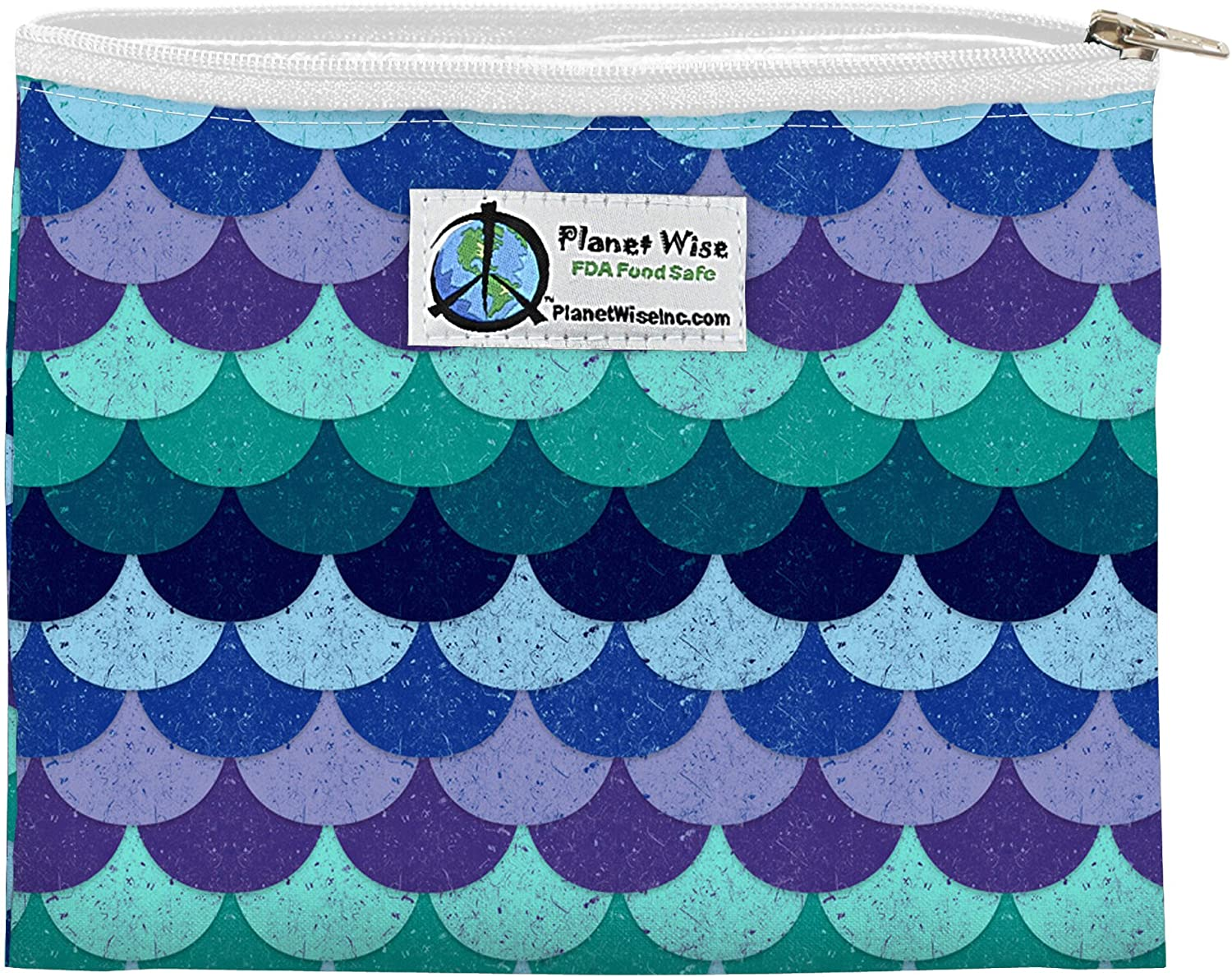 Planet Wise Reusable Zipper Sandwich and Snack Bags, Sandwich, Mermaid Tail Poly