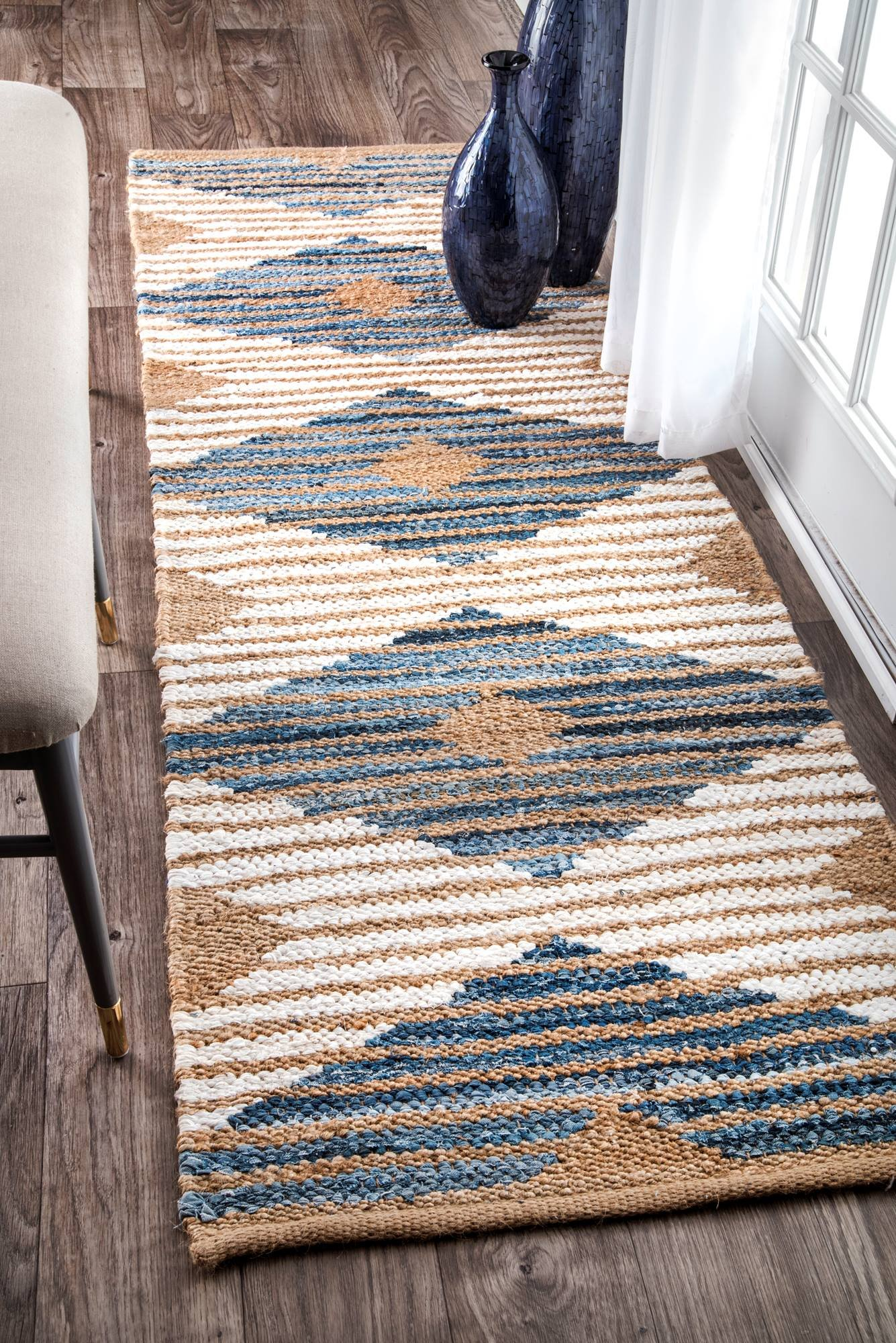nuLOOM Otelia Denim Jute Runner Rug, 2' 6'' x 8', Denim & White by nuLOOM