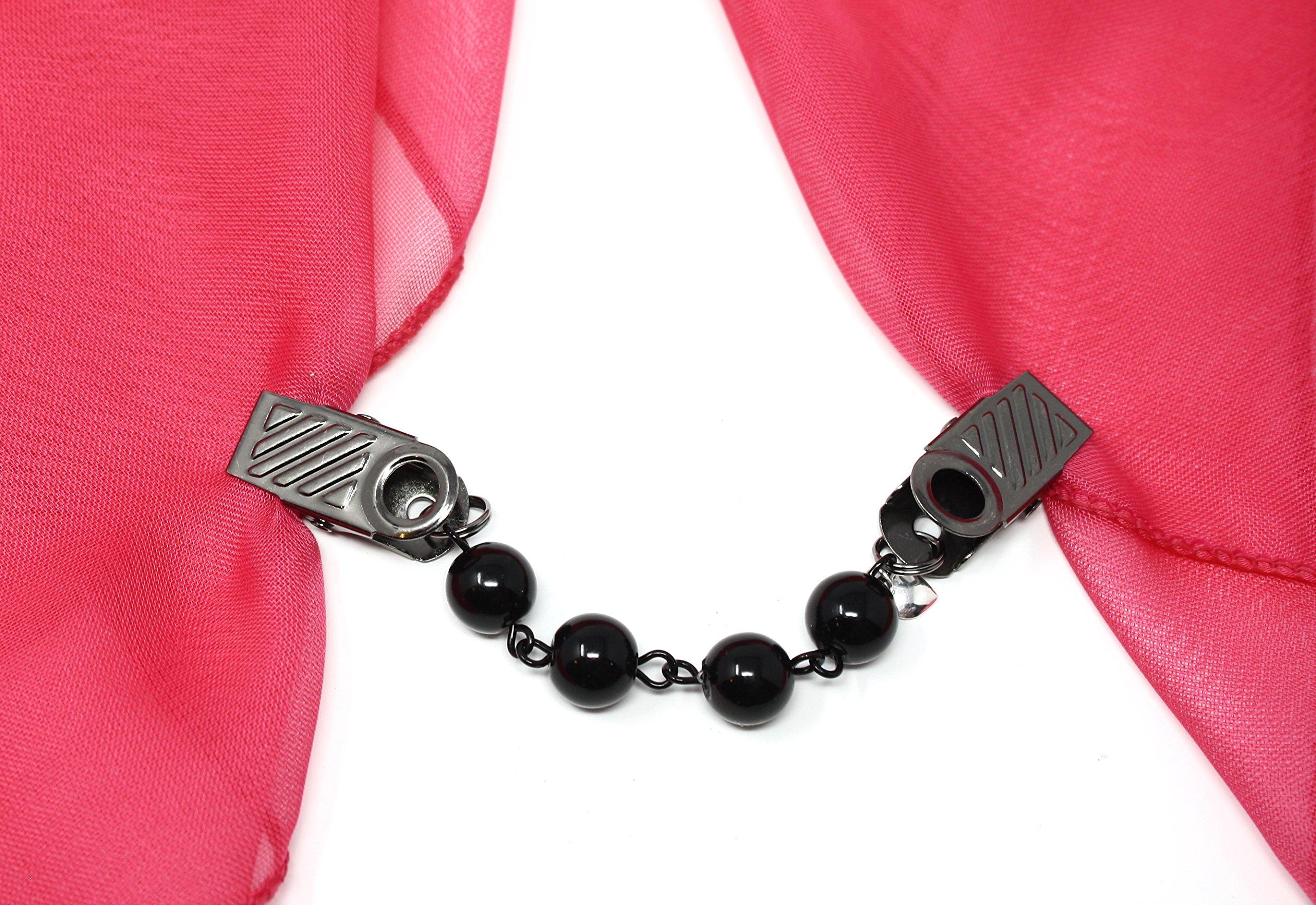 Hey Viv ! Black Bead Sweater Guard, Cardigan, Scarf Clip in Organza Bag - 50s Style by Hey Viv ! (Image #3)