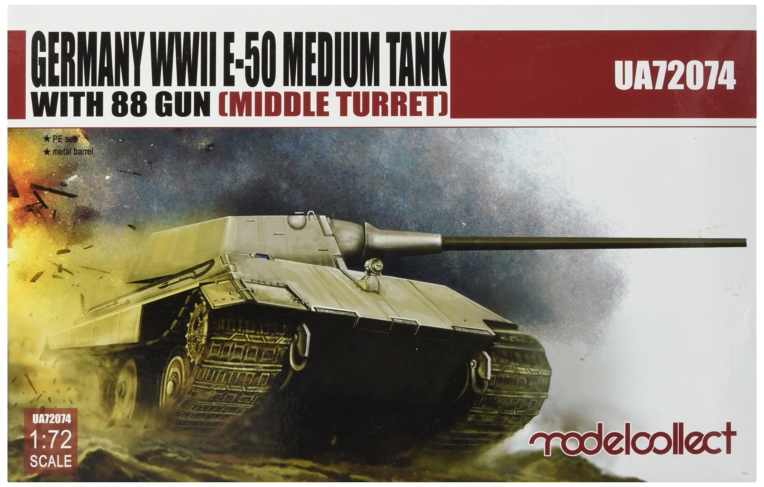 Modelcollect UA72074 Model Building kit, Germany WWII E-50 Medium Tank with 88Gun Middle Turret