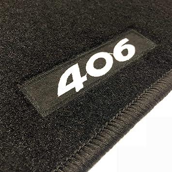 Alfombrillas negras para coche Alfombrilla trasera completa Set completo de alfombrillas artesanales de moqueta y a medida con bordado de hilo Bianco