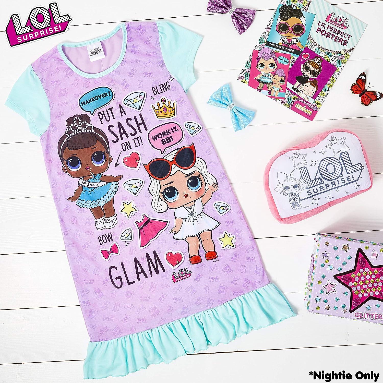 L.O.L Surprise Camicia da Notte Pigiama Maniche Corte Estivo Bambina Confetti Pop Abiti da Notte per Bambine 5-6 Anni, Viola
