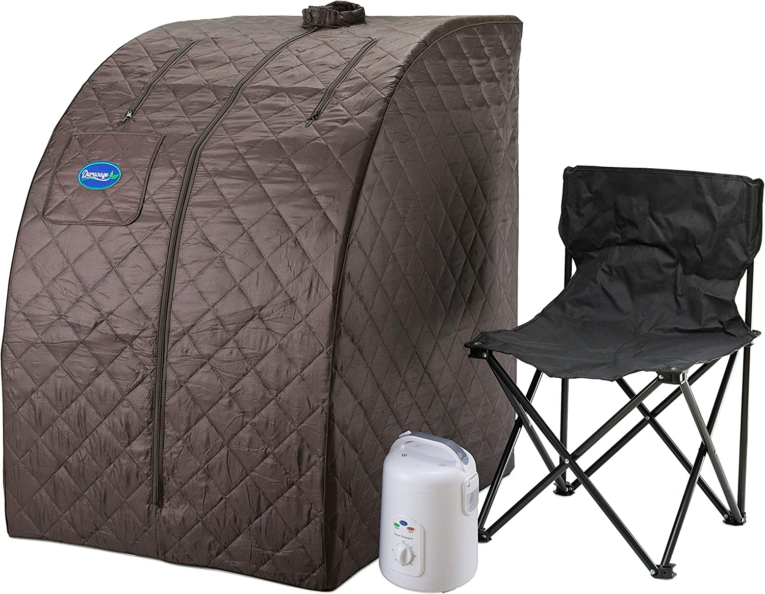 Durasage Lightweight Portable Personal Steam Sauna Spa for Weight Loss, Detox, Relaxation at Home, 60 Minute Timer, 800 Watt Steam Generator, Chair Included (Black Coffee)