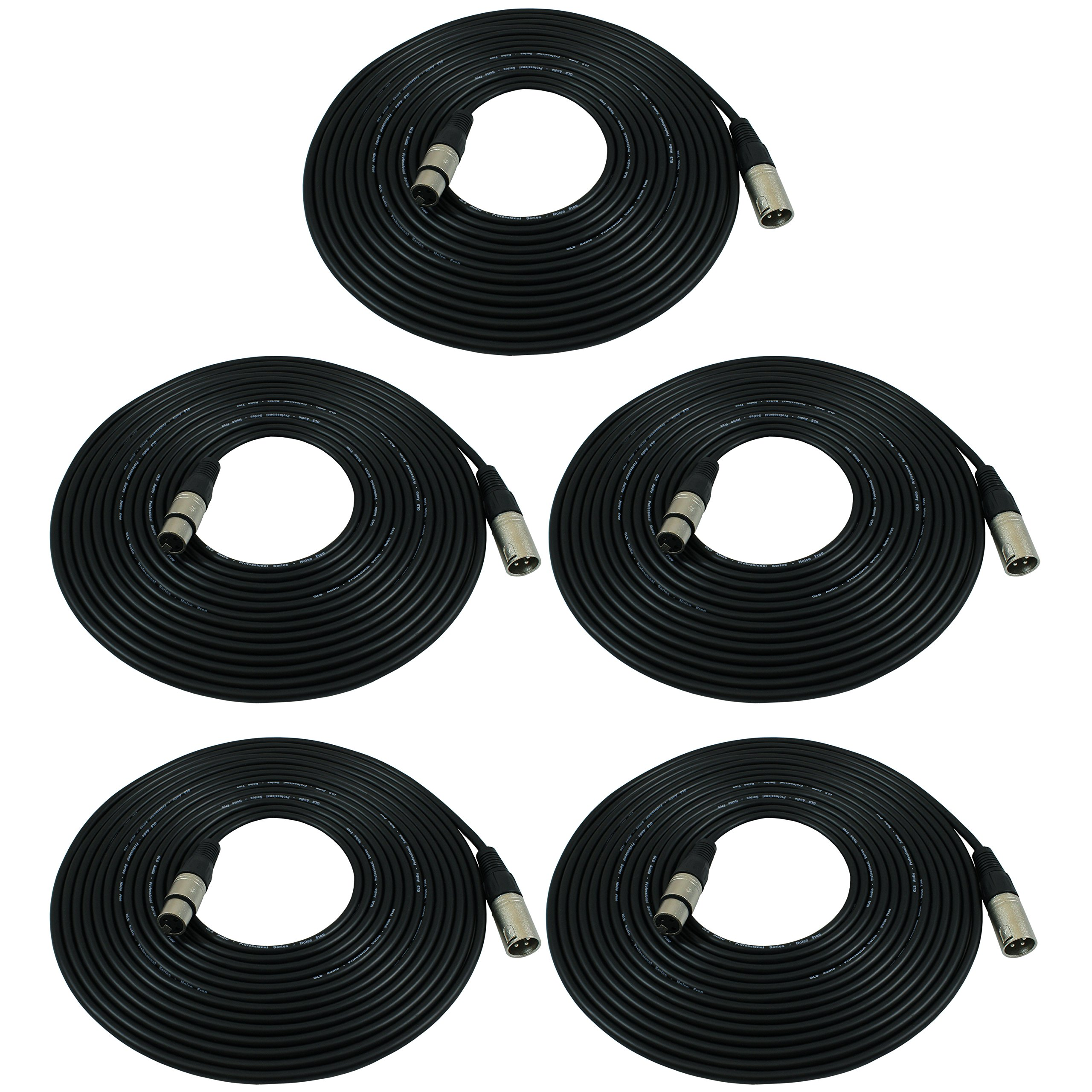 GLS Audio 25ft Mic Cable Patch Cords - XLR Male to XLR Female Black Microphone Cables - 25' Balanced Mike Snake Cord - 5 PACK by GLS Audio (Image #1)