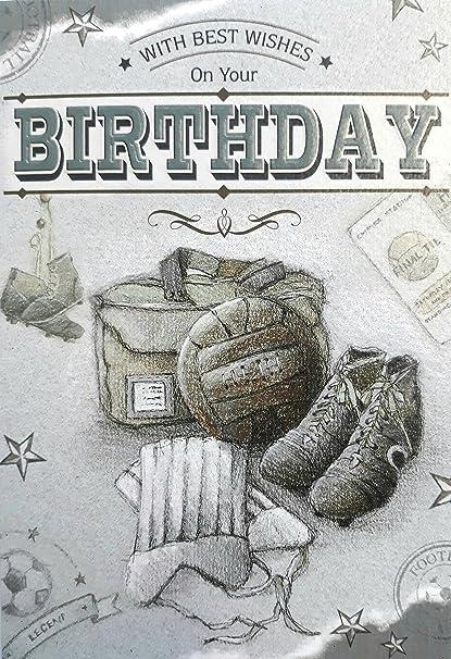 Balón de fútbol vintage. Tarjeta de cumpleaños. Tarjeta de ...