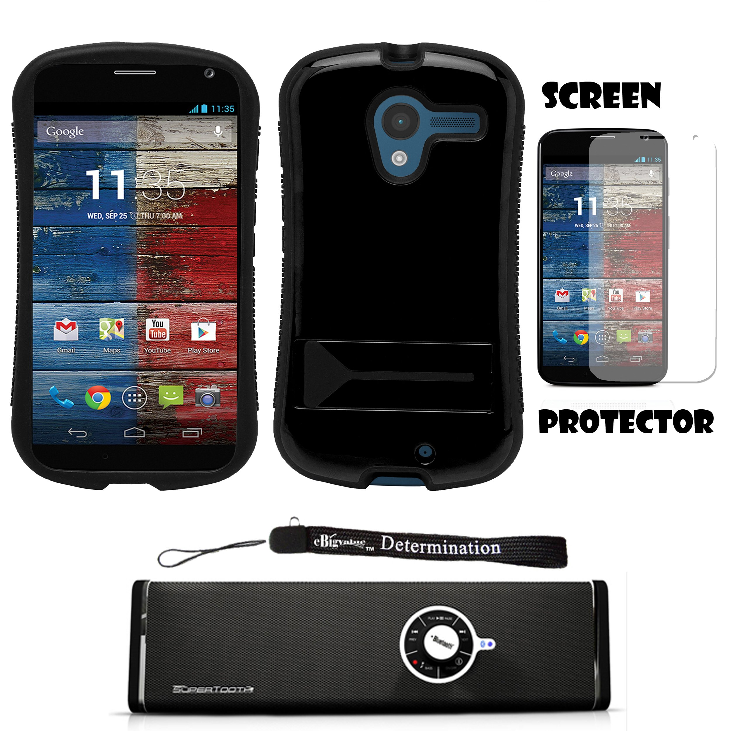 Black Hybrid Tough Protective Shield Cover Case with Kick Stand For Motorola Moto X Android OS V4 2.2 (Jelly Bean) + Motorola Moto X Clear Screen Protector + Supertooth Disco Bluetooth Speaker with AUX Cable + an eBigValue Determination Hand Strap by eBigValue