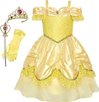 Sunny Fashion Vestido para niña Princesa Disfraz Accesorios Corona ...
