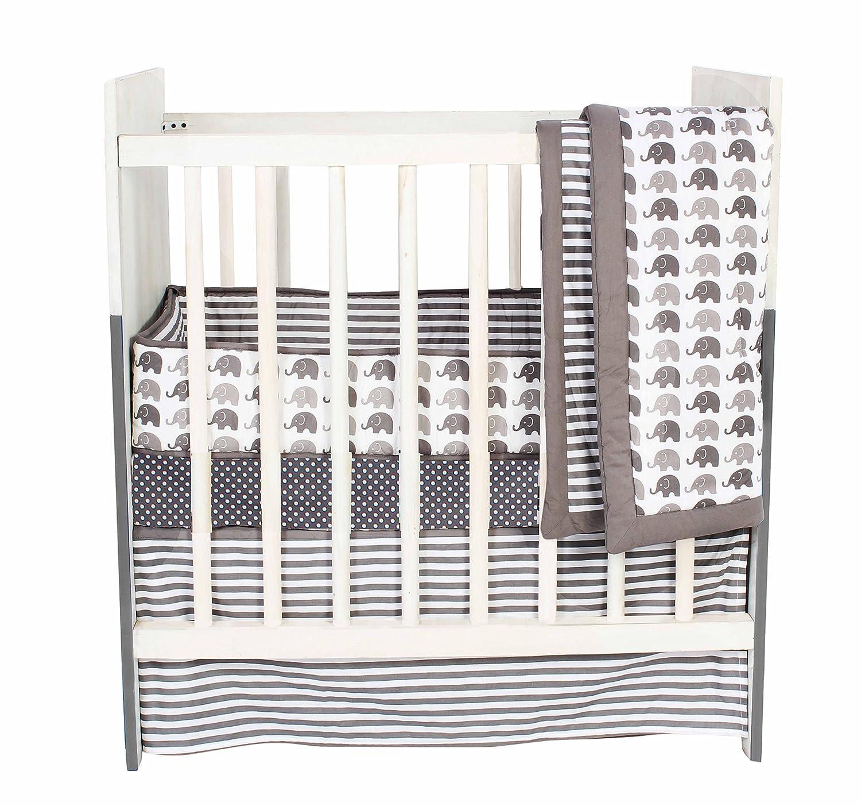Bacati Elephants Unisex 3 Piece Portable Crib Bedding Set 100 Percent Cotton for US Standard Cribs, Grey