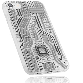 f254edf1d4d416 mumbi Schutzhülle für iPhone 8/iPhone 7 Hülle Motiv Leiterbahnen  transparent weiss