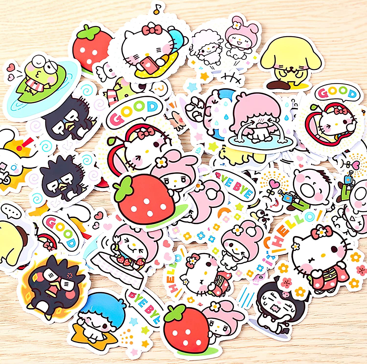 40Pcs Creative Kawaii self-Made Sanrio Love Girl Stickers Beautiful Stickers/Decorative Sticker/DIY Craft Photo