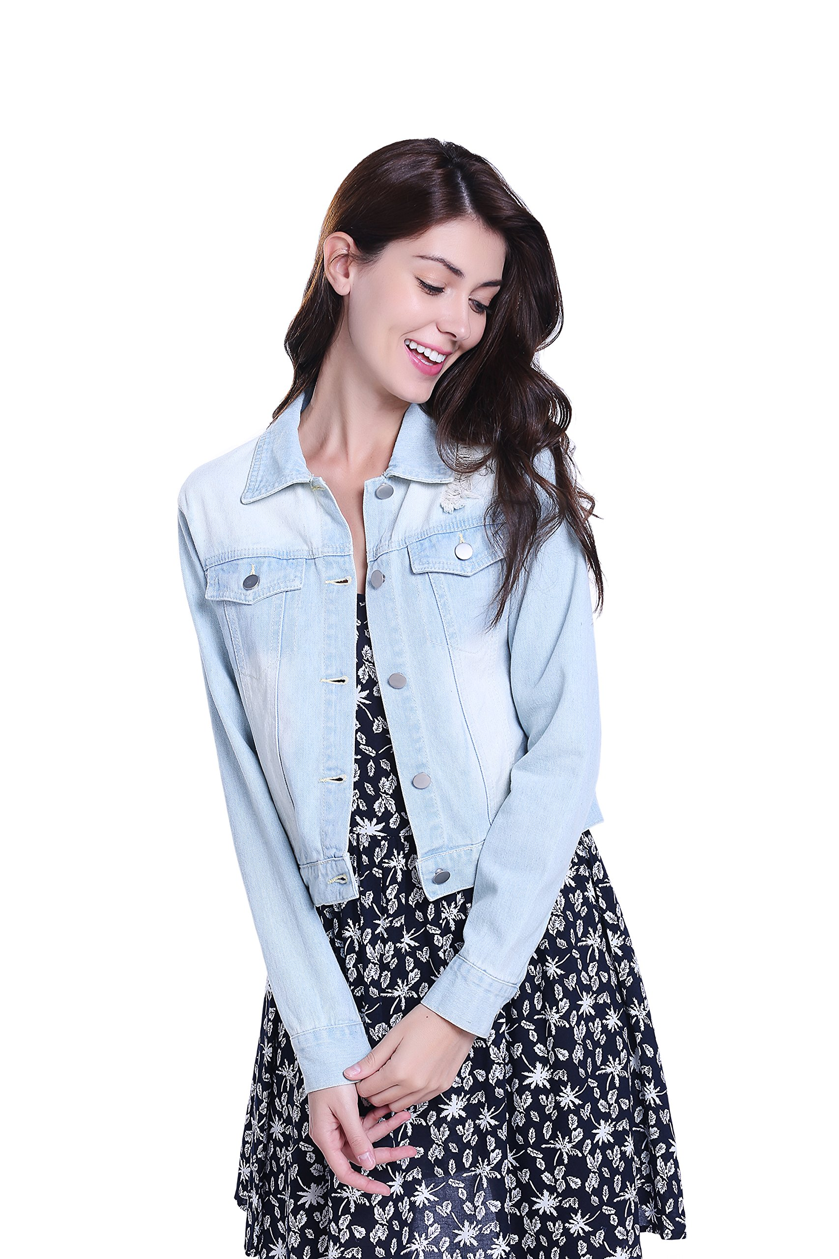 MISS MOLY Women Vintage Retro Ripped Btton up Western Pockets Cropped Washed Denim Vest Jacket