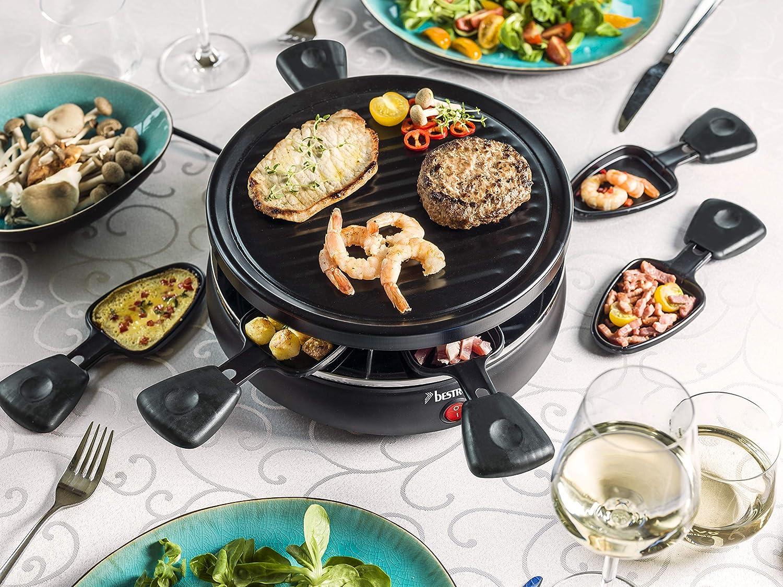 Bestron Gril-raclette Pour jusqu/à 6 personnes Rev/êtement antiadh/ésif Noir 800 W