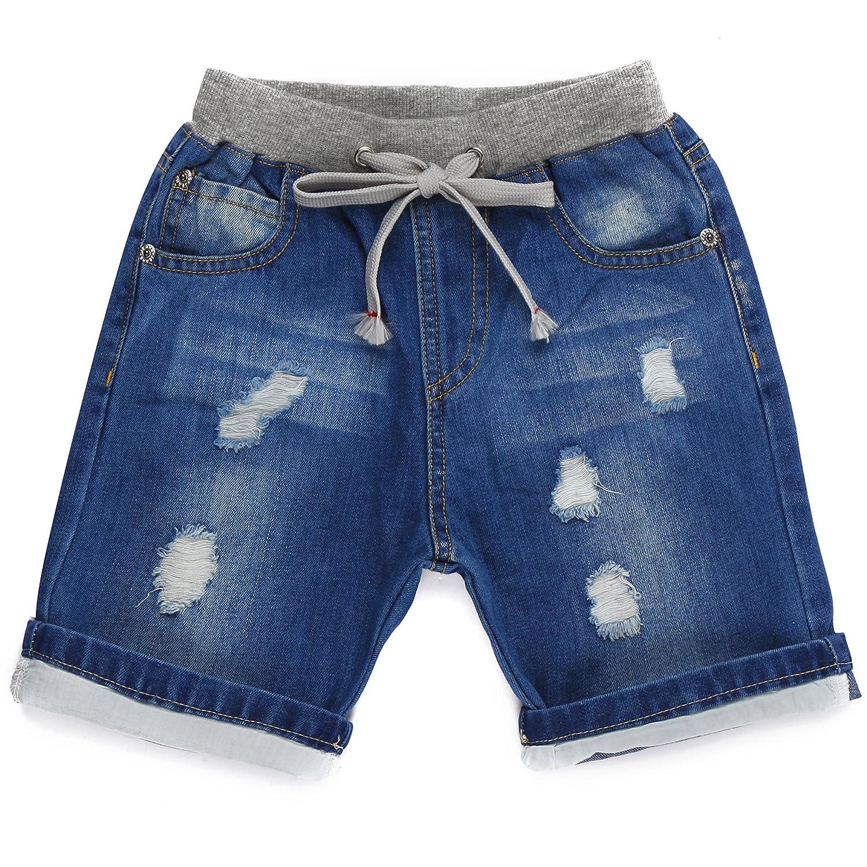 Grandwish pantaloncini jeans denim con strappi per ragazzi 2 anni-10 anni