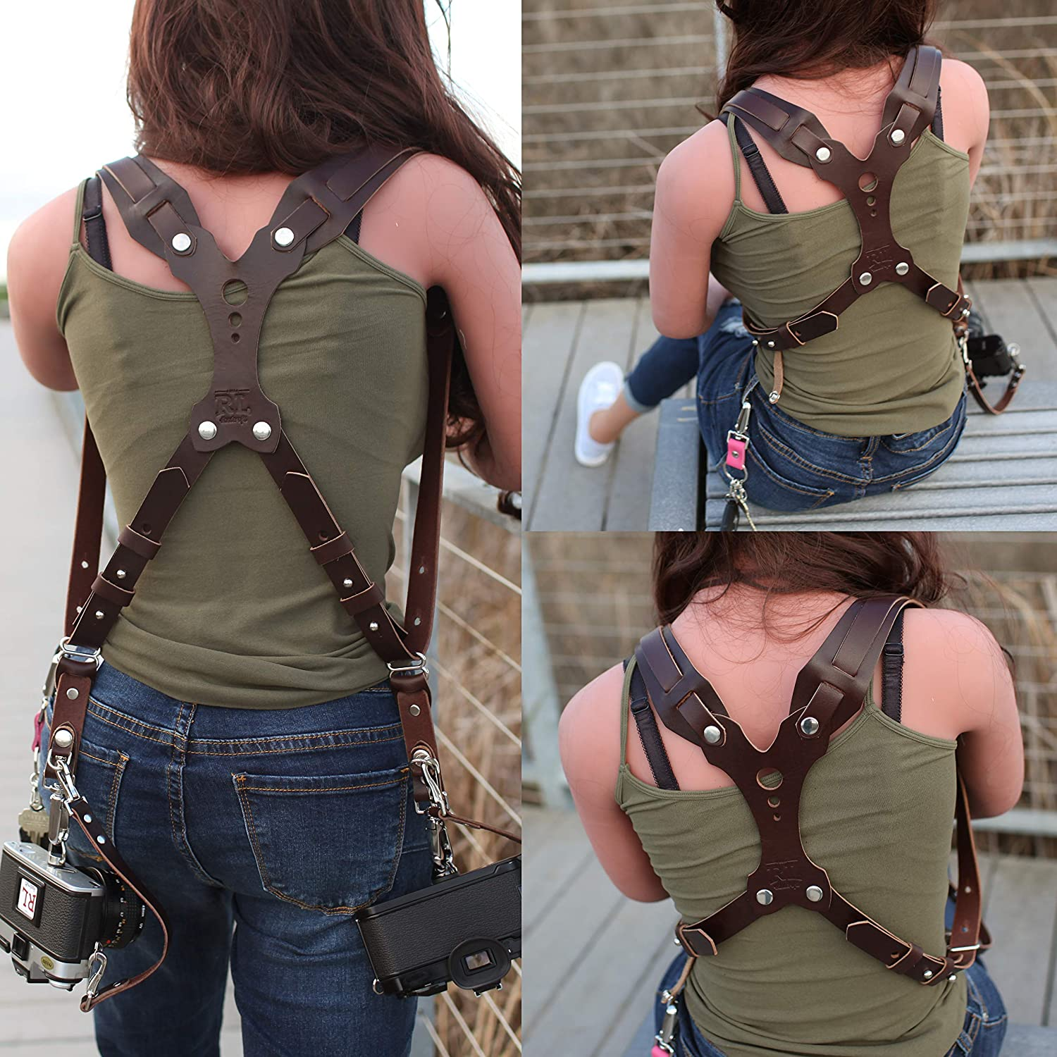 Point /& Shoot Made in The USA Mirrorless DLSR Sling /& Strap RL Handcrafts Clydesdale Lite-Dual Handmade Leather Camera Harness