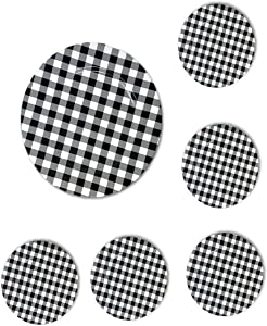 The Nifty Nook Round 13 Inch Plastic Charger Plates Farmhouse Decor Plaid - Set of 6 (Black & White Plaid)