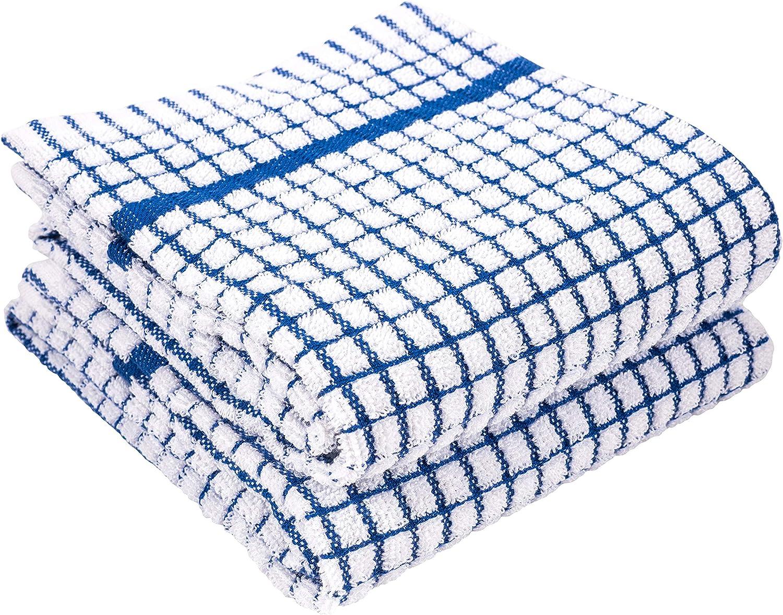 LaPrima Shops Set of 2 Terry Kitchen Towels, 20 x 30-inch 100-Percent Cotton (Blue)