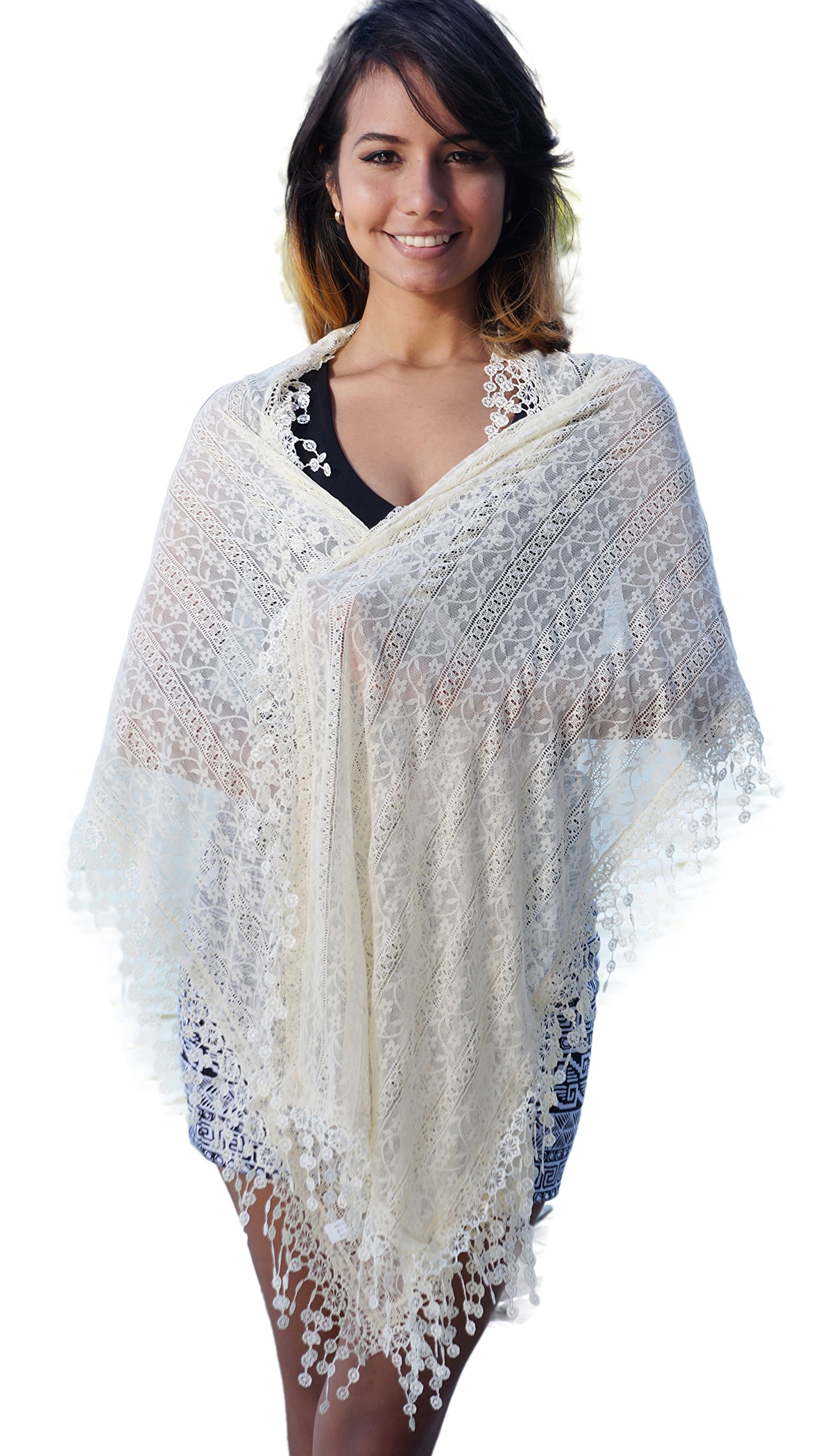 Cindy and Wendy Lightweight Soft Leaf Lace Fringes Scarf shawl for Women (Beige-SH)