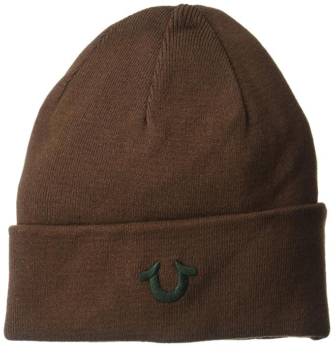 645361f1 True Religion Men's Cotton Watchcap Beanie Hat, Brown/Green, One Size