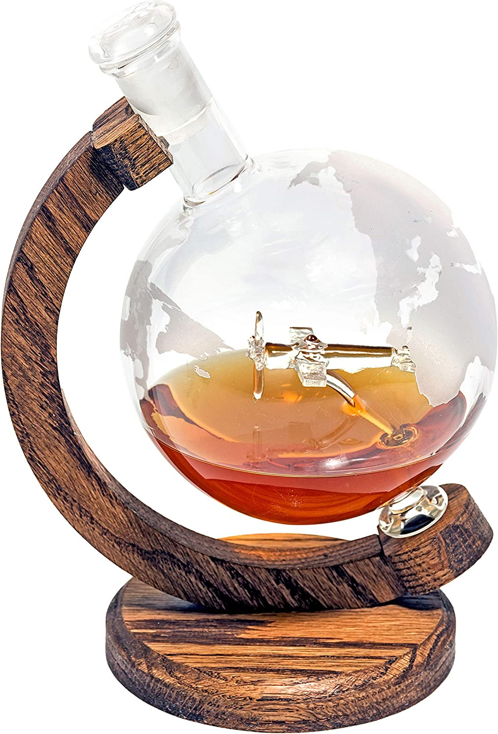 Etched Globe Airplane Liquor Decanter Bourbon Rum P51-D Mustang by Prestige Decanters 1000ml Lead-Free Glass Whiskey Decanter with Plane Inside for Scotch Wine or Liquor 34oz