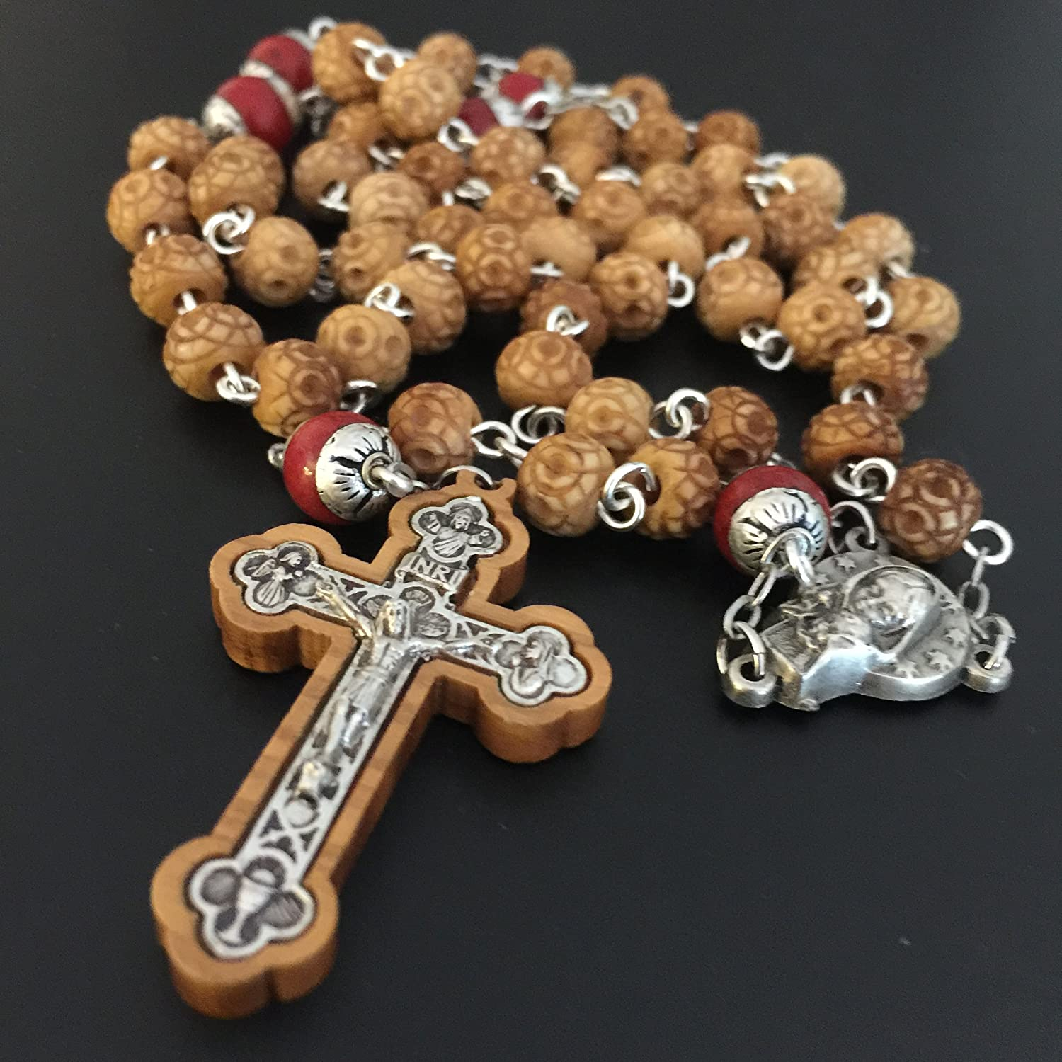 Benedict 5 DECADE Rosary Cross Necklace Red Carnelian beads Vintage Catholic St