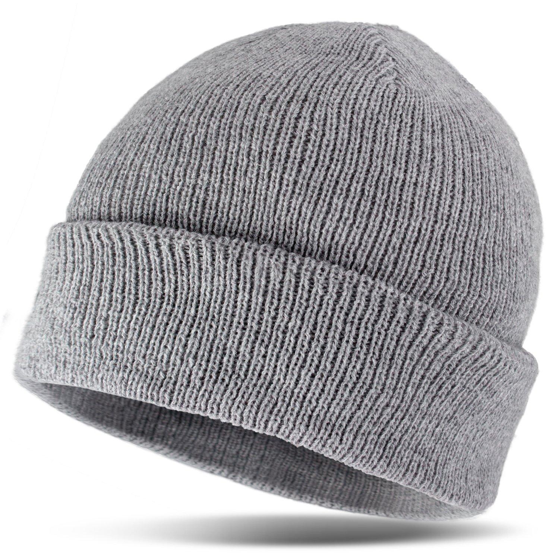 Gorro Invierno Hombre Gorro Gorro con forro Thinsulate, gris, talla única